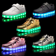 Kids Children Charge Led Boys Girls Light Up Trainer Sneakers Shoes XMAS Gifts