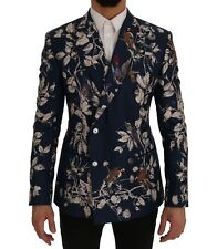 Dolce & Gabbana Blazer Jacket Blue Bird Print Silk Slim It50 / Us40 /l