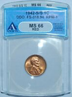 1942 S/S/S ANACS MS66RD Red FS-101/301 DDO RPM Doubled Die Obverse Lincoln Cent