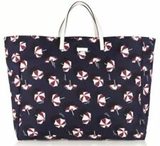 GUCCI 286198 Parasol XL Beach Tote Shopper Carry All Canvas Blue NWT