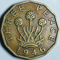 UK George VI Brass 3d Threepence Coin VF- Key Date