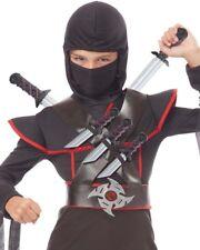 A610 Stealth Ninja Child Karate Warrior Costume Weapons Belt Dagger Star Sword