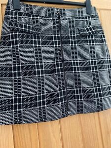 Ladies Black And White Check Mini Skirt Size 10