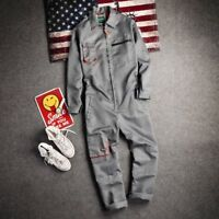 Men Retro Pockets Loose Casual Jumpsuits Overalls Trousers Coats Suits Dungarees