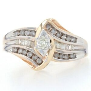 Yellow Gold Diamond Bypass Ring - 10k Marquise Cut .33ctw Engagement