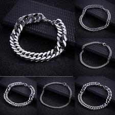 Cool Women Men Chain Curb Cuban Link Silver Tone Stainless Steel Bracelet new