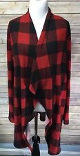 Women's Size 2XL Open Front Cardigan Buffalo Plaid Red Black Christmas Gift