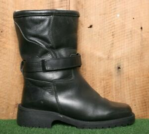 """Vintage Black Leather Shearling Lined 9"""" Winter Snow Boots Women's Sz. 8"""