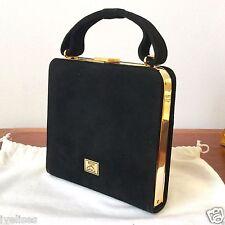 vintage MOSCHINO by Redwall black suede gold tone trim evening handbag dust bag.