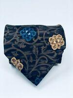 BILL BLASS 100% Silk Floral Print Men's Neck Tie - Brown/Blue/Gold - Made in USA