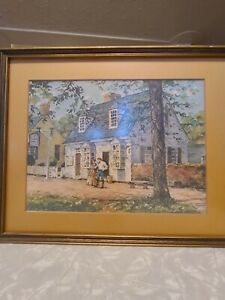 Vintage Vernon Wooten Colonial Williamsburg Art Print Matted & Framed