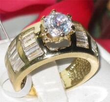 Ladies gold ring solitaire baguettes 4carat cz cubic zirconia sparkling W159