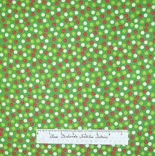 "Christmas Fabric - Happy Holiday Red Green Cream 1/4"" Polka Dot - AE Nathan 23"""
