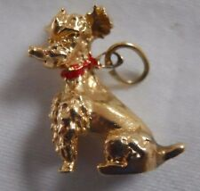 Vintage 14k Yellow Gold POODLE WITH RED COLLAR Bracelet Charm HEAVY 7.2 g 16149E