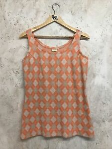 Vintage Acrilan Jersey Orange and Beige Diamond Pattern Sleeveless Top Size 14
