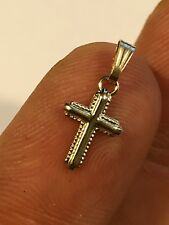 """Tiny Cross Pendant Charm Solid 14k Yellow Gold Micro 0.5""""x 0.25"""" Italy Made"""