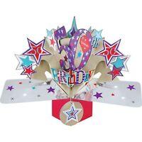 50. Geburtstag Pop-Up 3D mit Glitzer und Sternen Luxus Grußkarte BIRTHDAY Karte
