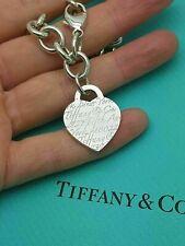 "Tiffany & Co. RARE Silver NOTES Fifth Avenue New York Heart Charm Bracelet 7.75"""