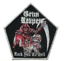 GRIM REAPER (rock you to hell) silver border  WOVEN PATCH