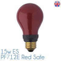 PF712E 15w Darkroom Red Safe Safelight 240v E27 ES Bulb Lamp PF712E ES Red Safe