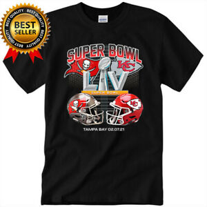 HOT Super Bowl Black T-Shirt Tampa Bay Buccaneers vs Kansas City Chiefs LV 55