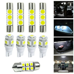 9x White LED Bulbs Package Kit Car Interior Map Reading Dome Mirror Trunk Lights