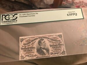 Third  issue FR -1292. 25c Fessaden  Fractional  currency, PCGS 63 PPQ