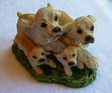 "Stone Critters Blonde ""Cocker Spaniel Family"" Hand Painted Dogs Figurine"