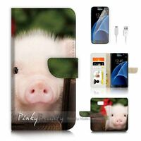 ( For Samsung S7 ) Wallet Case Cover P4161 Cute Pig