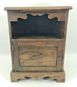 Vintage Bedside Table Cabinet Solid Wood Drawer Dark Wood Bedroom Storage