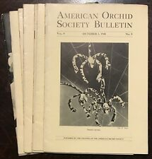 AMERICAN ORCHID SOCIETY BULLETIN, Original 1940-1941 Issues - LOT OF 7 Journals