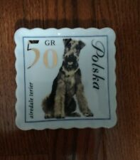Doghaus Airedale terier stamp Plate Ceramic Tray polish stamp 4 x 4""
