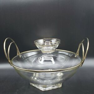 Vintage MCM Clear Glass Chip and Dip Bowl Set with Round Gold Metal  Handles WOW