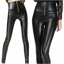 High Waisted Women's Faux Leather Stretch SKINNY Pants Leggings Slim Trousers Ne