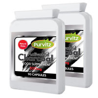 Activated Charcoal 300mg 180 Capsules Reduce Flatulence Purvitz UK
