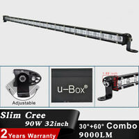 1 x  Slim 32inch 90W  LED Spot Flood Combo Lamp Offroad Work Light Bar JEEP