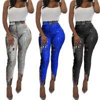 Fashion Women Sequins Slim Bodycon Casual Club Party Long Pants Pencil Pants
