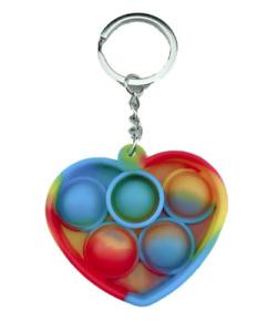Multicoloured Sensory Popper pop it fidget sensory toy love heart mini Keyring