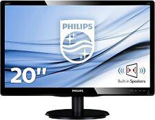 "PHILIPS MONITOR 20"" LED 5MS MULTIMEDIALE VGA/DVI NERO 200V4LAB2 PC COMPUTER"