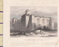 C1815 Antiguo Pequeño Georgiano Estampado ~ de Colchester Castillo ~