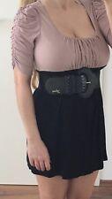 Amisu New Yorker Minikleid Top Shirt Babydoll Longtop Rosa Altrosa Schwarz XS 34
