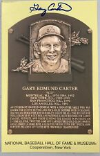 Gary Carter Signed Gold HOF Plaque Postcard Yellow JSA Autograph NY Mets 2