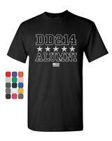 DD214 Alumni T-Shirt Patriotic Military Soldier Veteran US Flag Mens Tee Shirt