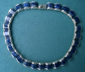 """VINTAGE LAPIS CHOKER 13.5""""  CHUNKY SOLID STERLING 925 SILVER MEXICO"""