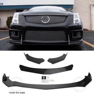 For Cadillac CTS CTS-V Front Bumper Lip Body Kit Spoiler Splitter Glossy Black