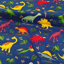 Dinosaur Cotton Fabric - Blue / Multicolour price per metre Children's Cushions,