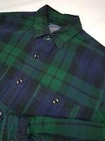 J. Crew Button Front Long Sleeve Blue Green Plaid Flannel Shirt Sz Medium (3262)