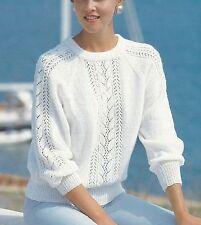 """#198 Ladies Lace Panel Sweater 30-40"""" 76-102c Vintage Knitting Pattern"""