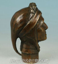 china lucky Old Bronze Hand Carved ( poet Dante ) Cane Walking Stick Head Statue