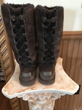 $230 UGG ROSEBERRY BROWN Lace Up  Tall Sheepskin Suede Snow Boots 5734 SZ 7
